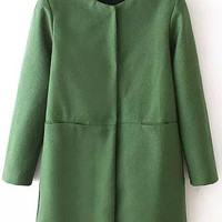 Green Long Sleeve Woolen Coat