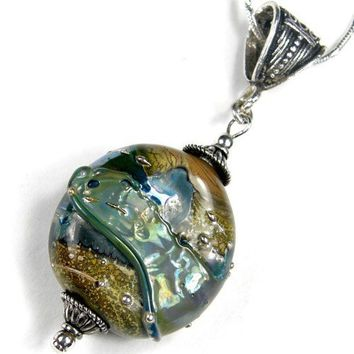 Metallic Green Lampwork Glass Bead Pendant With Sterling Silver | Covergirlbeads - Jewelry on ArtFire