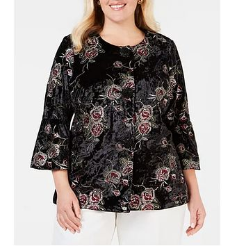 JM Collection ~ Plus Black Embroidered Lined Velvet Jacket 2X NWT Retail $129