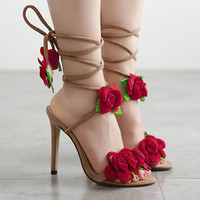 2017 Fashion Woman Female Gladiator Sandals Handmade Floral Cross Tied Flat Beach Boots Zapatos Mujer Chaussure Femme Sandalias