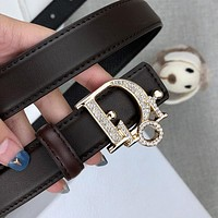 Dior CD new style diamond-studded shiny letter buckle fashion men's and women's belt