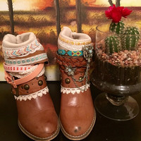 """The """"Darlene"""" - Custom Upcycled Leather Cowboy Boots"""