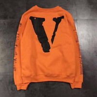 PEAPD OFF-WHITE x VLONE Fashion Print Long Sleeve Top Sweater Pullover