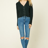 Lace-Up Ribbed Knit Sweater Top