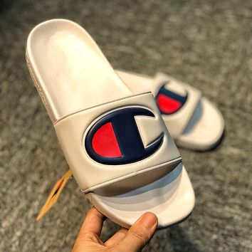 Champion Popular Women Men Leisure Big Logo Flats Sandals Slippers Shoes White