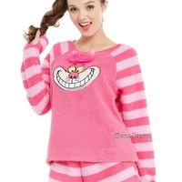 Licensed cool Disney Alice Wonderland Cheshire Cat Plush Short Sleep Set Pajamas Juniors M-XL