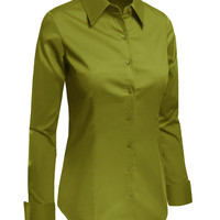 LE3NO Womens Lightweight Button Down Shirt with Stretch