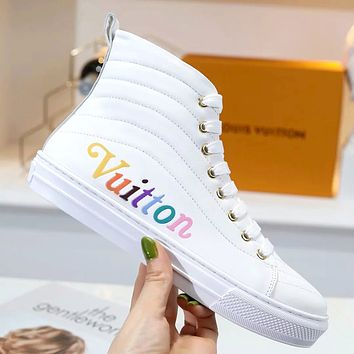 LV 2019 new wild color letter printing wave quilted lace high-top flat shoes white