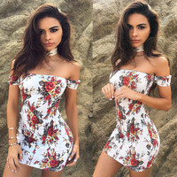 Bra Summer Stylish Women's Backless Print One Piece Dress [9893987533]
