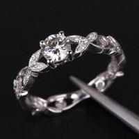 Round Moissanite Engagement Ring Diamond 14K White Gold 5mm Art Deco Floral Shank
