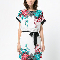 White Floral Print Short Sleeve A-line Mini Dress with Belt
