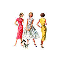 1950s Dress Pattern McCalls 3695 Ring Neck Keyhole  Out Full or Slim Skirts Fit and Flare Sheath 31 Bust