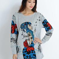 2016 new Spring long sleeve t-shirt women fashion designer knitted clothing The Western style printing tops free shipping