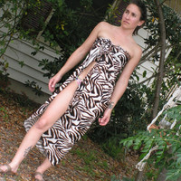 Sarong Cover Up Long Zebra Print by hisOpal on Etsy