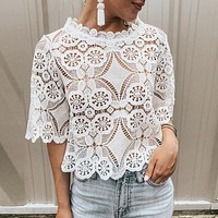 Embroidery lace white blouse women Sexy hollow out short sleeve female top shirt Elegant crop tops ladies