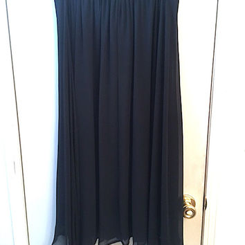 """Vintage 80's """"Options"""" Black Fully Lined Chiffon A-Line Skirt w/ Fancy Woven Elastic Waistband, Vintage Cocktail Length Ladies Dress Wear"""