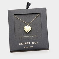 Secret Box_14k Gold Dipped Heart Locket Pendant Necklace