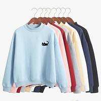 Spring Autumn Casual Wear Pullovers Fleece Cute Printed Hoodies Women Kawaii Cartoon Black Cat Long Sleeve Harajuku Sweatshirt