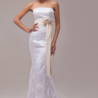 White Off Shoulder Bow Knot Lace Mermaid Maxi Dress