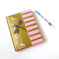 Hand Painted Journal Blank pages : Pink stripes and a dragonfly