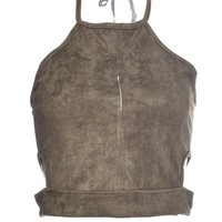 Back Zipper Suede Halter Crop Top Short Top Cropped Fake Leather Short Bustier Top Spaghetti Strap Top Vest Sleeveless Tank 2016