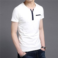 Summer New Arrival Fashion Button Henry Collar Tee Shirts Short Sleeve T-Shirt Men Pure Cotton T Shirt Homme
