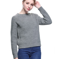 Gray Drop Shoulder Ribbed Knitted Sweater