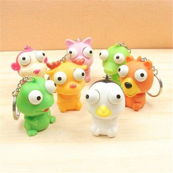 Cute Animal Squeeze Toy Tumbled eye Doll Stress Relief Keyring Key Chain Ring On Car