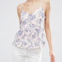 ASOS Soft Gathered Pretty Cami Top In Floral