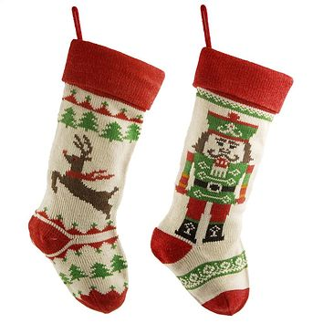 Nutcracker Reindeer Yarn Christmas Stockings, Ivory/Red, 18-Inch, 2-Piece