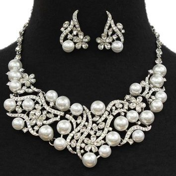 """16"""" cream crystal faux pearl choker collar necklace 1.25"""" earrings bridal prom"""
