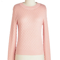 ModCloth Short Length Long Sleeve Lattice Stay Together Sweater
