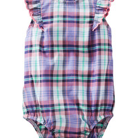 Flutter-Sleeve Plaid Poplin Bodysuit