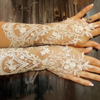 Free Shipping, Wedding Gloves, French Lace Long Gloves, Ivory White Sophisticated Lace Cute Fingerless Gloves, Bridal Wedding Accessory
