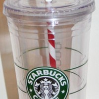 Licensed cool Starbucks Holiday 16OZ GRANDE TUMBLER COFFEE TO GO COLD CUP MUG Candy Cane Straw