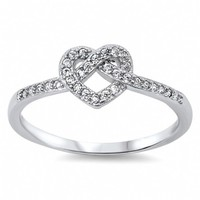 Cherri's Knotted Heart Sterling Silver Cubic Zirconia Ring
