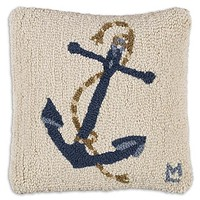 """Blue Anchor on White Hooked Wool Pillow - 14"""""""