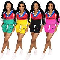 Champion New fashion embroidery letter contrast color long sleeve top and shorts two piece suit