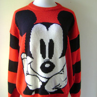 80s Mickey Mouse Sweater Vintage Red Black Striped Sleeves Size M/L Medium Large Hipster Disney Pullover Top Womens 1980s Retro Knit Blouse
