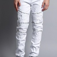 Faded Distressed Zipper Biker Jeans