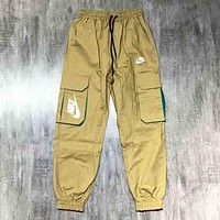 NIKE Fashion new letter print more pocket women and men trousers pants Khaki
