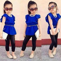 summer new fashion baby kids girls clothes set 2 pcs short sleeved blue shirt +black legging children clothing