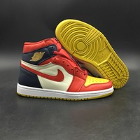 Air Jordan 1 Navy/red/yellow 555088 600