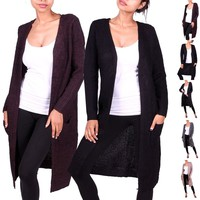 Women Casual Knitted Long Sleeve Open Draped Cardigan Sweater Knitwear