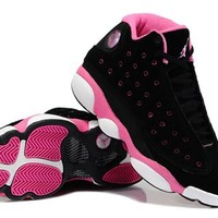 Hot Air Jordans 13 Women Shoes Suede Black Pink