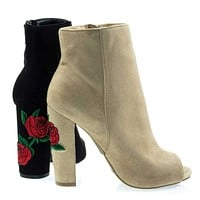 Morris03B Embroidered Floral Stitching, Chunky Block Heel Ankle Bootie w Peep Toe