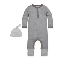 Burt's Bees Baby® 2-Piece Henley Coverall and Hat Set in Grey