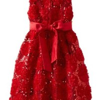 Rare Editions Girls 7-16 Red Soutache Flower Sequin Special Occasion Dress, 14