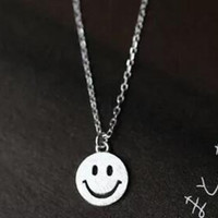 Womens 925 Sterling Silver Smiling Face Pendant Necklace Girls Superior Quality Christmas Necklace Gift 90
