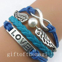 love,wings and pearl,&infinity karma Charm Bracelet Antique silver-- wax cords braid Leather bracelet--the best friendship gift 802